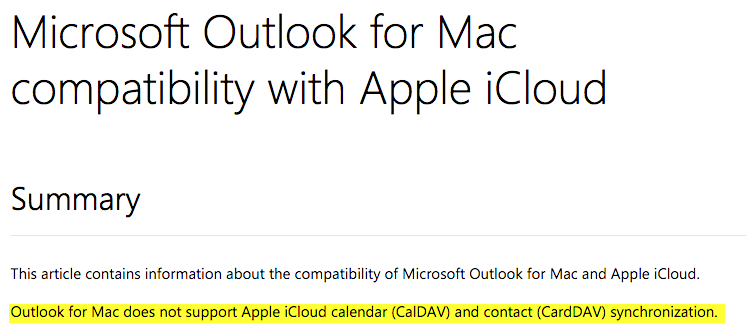 Outlook for Mac does not support Apple iCloud calendar CalDAV and contact CardDAV synchronization